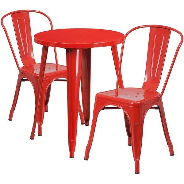 Shop Brimmes 3pcs Round 24 Red Metal Table W 2 Cafe