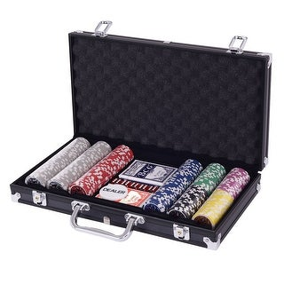 Costway Poker Chip Set 300 Dice Chips Texas Hold'em Cards with Black Aluminum Case - as pic