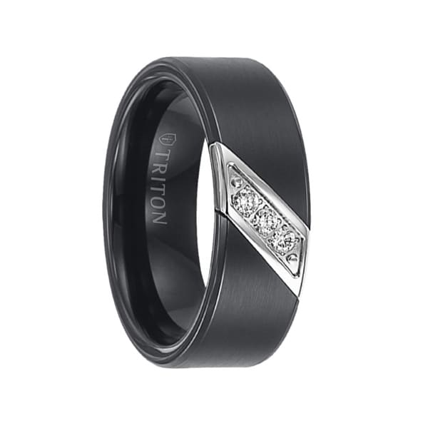 ROLF Flat Black Satin Diamond Setting Tungsten Wedding Ring by Triton Rings - 8mm