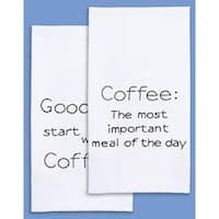 """Coffee - Stamped White Decorative Hand Towel Pair 17""""X28"""""""