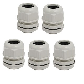 M32x1.5mm Thread Nylon Single Oval Hole Cable Gland Joint Gray 5pcs