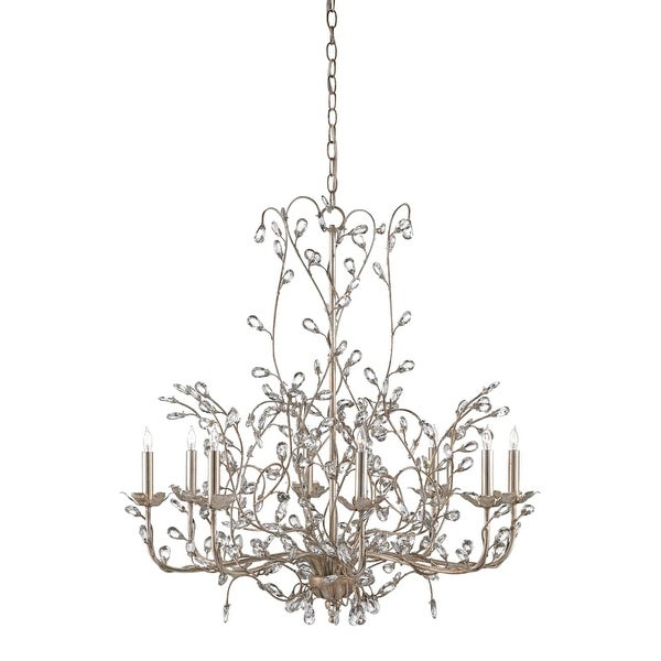 Currey and Company 9975 Crystal Bud 8 Light 1 Tier Chandelier - silver granello