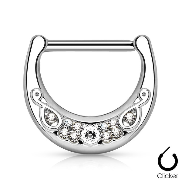Crystal Filigree Surgical Steel Bar Nipple Clicker - 14GA (Sold Ind.)