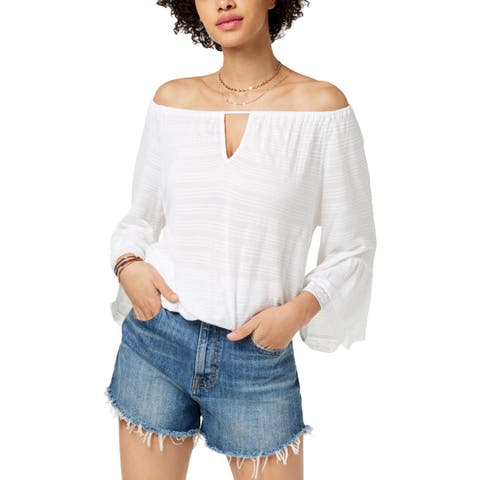 Lucky Brand Womens Blouse Off-The-Shoulder Bell-Sleeves - M