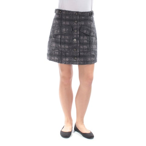 RACHEL ROY Womens Gray Textured Above The Knee A-Line Skirt Size: 12