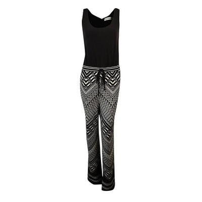 Shop Calvin Klein Womens Aztec Print Jersey Jumpsuit Blackcream