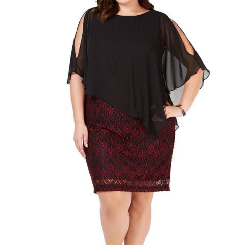 Connected Apparel Women's Dress Black Size 24W Plus Sheath Overlay Lace