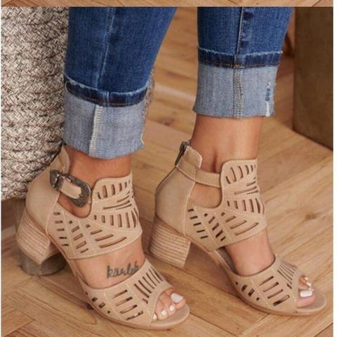 Cutout Carved Thick Heel Sandals