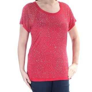 Womens Red Short Sleeve Scoop Neck Casual T-Shirt Top Size XXL