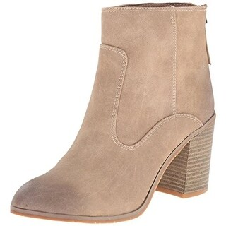 BC Footwear Womens Crew Ankle Boots Faux Leather Stacked