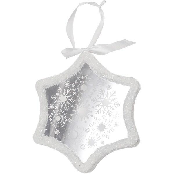"9"" Pre-Lit LED White Sparkle Snowflake Scene Christmas Snowflake Ornament"