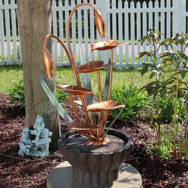 Sunnydaze Copper Flower Petals with 5-Tier Leaves Outdoor Fountain - 34-Inch