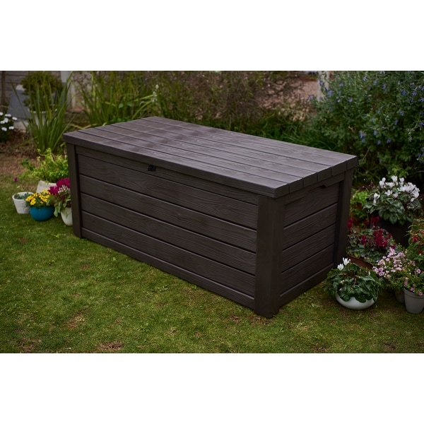 Keter Eastwood Plastic 150-gallon Storage Deck Box. Opens flyout.