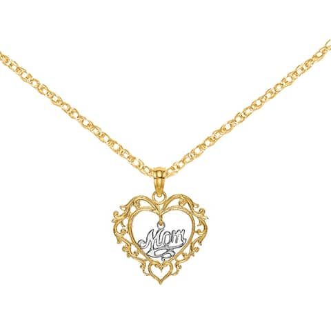 14K Two-tone Heart and Dangling Mom Charm with 18-inch Cable Rope Chain by Versil