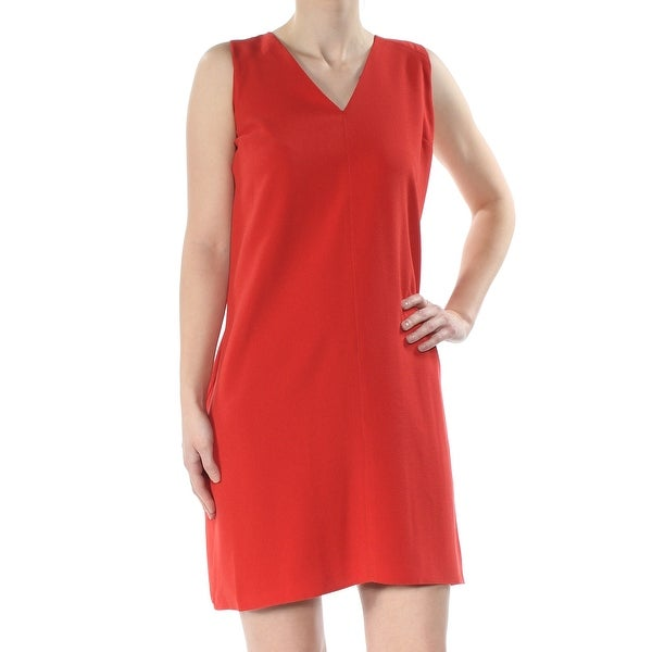 RACHEL ROY Womens Red Sleeveless V Neck Above The Knee Shift Dress Size: 2