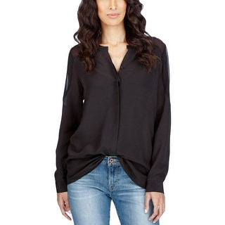 Lucky Brand Womens Button-Down Top Silk Crepe