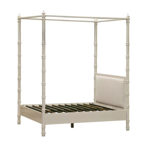 8.75' Ivory and Brown Forest Queen Bed