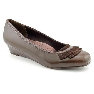 Trotters Dreama Women N/S Open Toe Leather Brown Wedge Heel