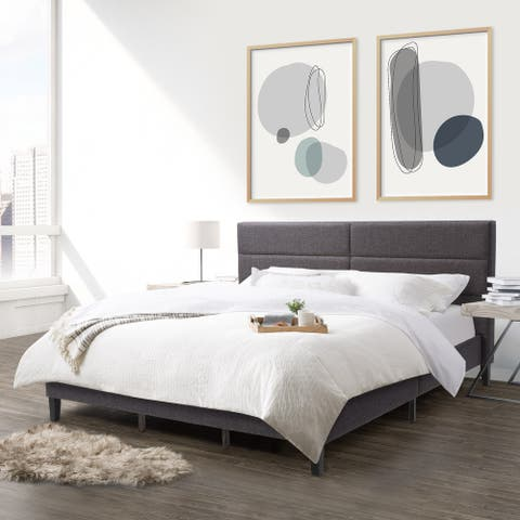 CorLiving Bellevue Dark Grey Upholstered Panel Bed, King