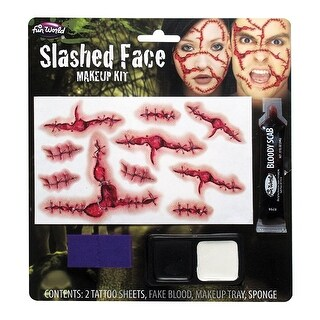 Slashed Face Makeup Kit - Red