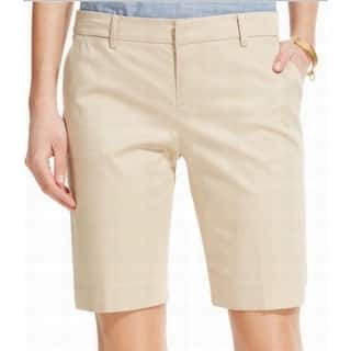Tommy Hilfiger NEW Solid Beige Women's 12 Flat Front Chino Shorts|https://ak1.ostkcdn.com/images/products/is/images/direct/1fcc338b423f2a29d19665787df3bb7cd5029963/Tommy-Hilfiger-NEW-Solid-Beige-Women%27s-12-Flat-Front-Chino-Shorts.jpg?impolicy=medium