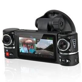"Indigi® F600 Car DVR DashCam w/ Dual Rotating Cameras (Front+Rear) Driving Video Recorder with 2.7"" LCD w/ IR Assist - Black"