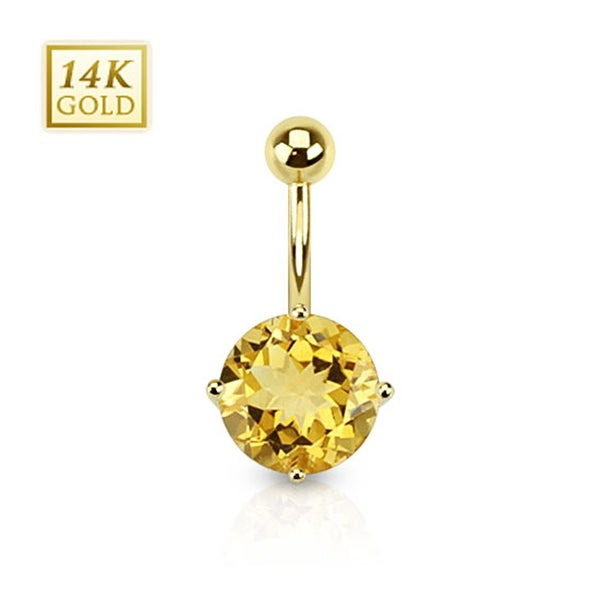 14 Karat Solid Yellow Gold Citrine Gemstone Round Prong Set Navel Belly Button Ring
