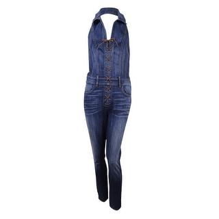 Guess Women's Denim Lace-Up Jumpsuit (6, Industry Wash) - 6