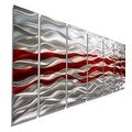 Statements2000 Red / Silver Modern Abstract Metal Wall Art Painting by Jon Allen - Caliente - Thumbnail 0