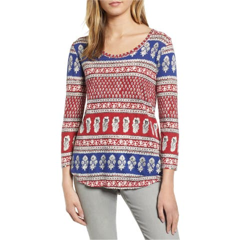 Lucky Brand Womens All Over Print Basic T-Shirt, Red, X-Small