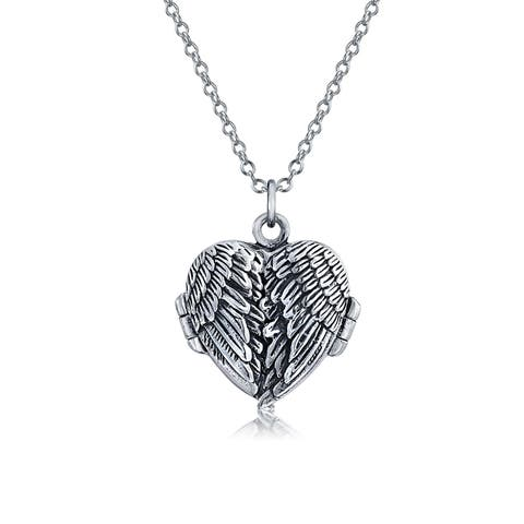 Guardian Angel Wing Feathered Heart Locket Pendant Antiqued Sterling Silver Necklace For Women Chain 18 Inches