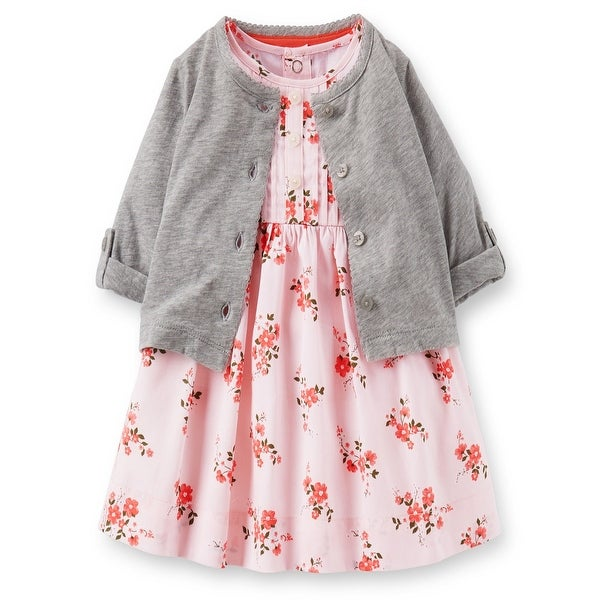 f6fd06bdecf64 Shop Carter's Baby Girls' Sateen Floral Dress Set -6 Months - Free Shipping  On Orders Over $45 - Overstock - 17247970