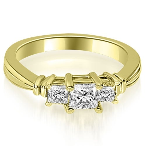 1.50 cttw. 14K Yellow Gold Thee Stone Princess Cut Diamond Engagement Ring