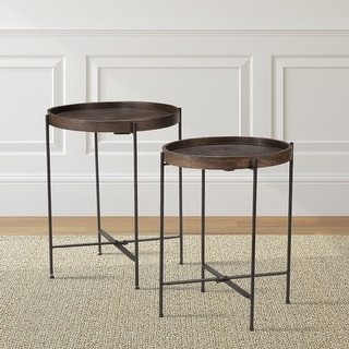 Cassidy Mango Wood Metal Round 2 Piece Accent Table Set By Greyson Living Overstock 17350999