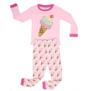 Elowel Little Girls Pink Icecream Long Sleeve Cotton 2 Pc Pajama Set