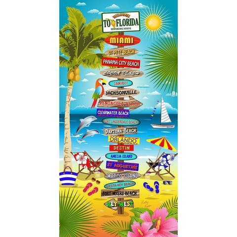 Florida Signs 30x60 Brazilian Velour Beach Towel