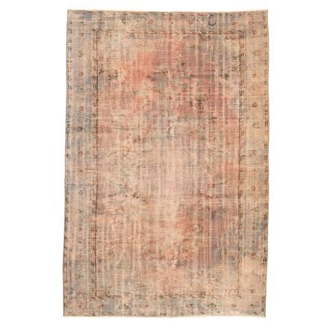 ECARPETGALLERY Hand-knotted Color Transition Light Denim Blue Wool Rug - 6'1 x 9'0