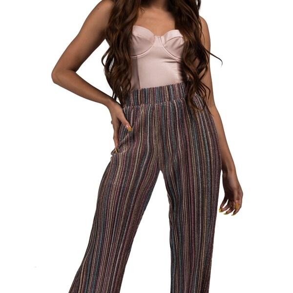 fef11062 Akira Women'S Rainbow Glitter Sheer Stripe Wide Leg Flare High Waist  Stretch