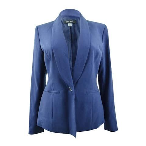 Nine West Women's Plus Size One-Button Shawl-Collar Stretch Jacket - Night Sky