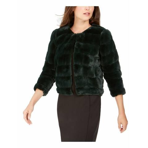 Calvin Klein Womens Jacket Green Size Small S Faux-Fur Shrug Textured