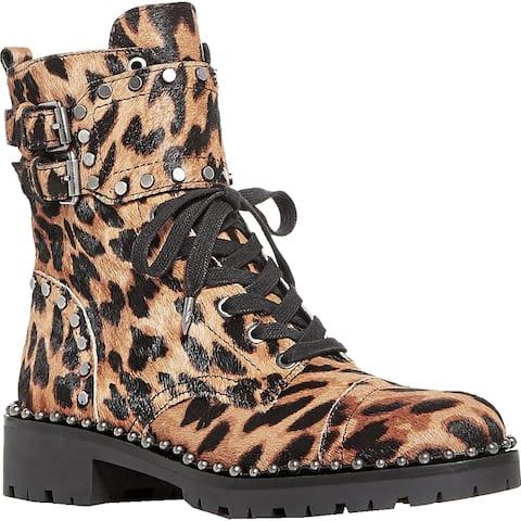 Sam Edelman Womens Jennifer Combat Boots Calf Hair Lace Up - Brown Leopard