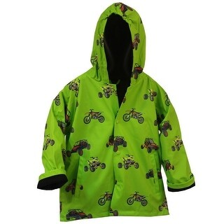 Foxfire Little Boys Green Sand Toys Print Hooded Trendy Raincoat 1T-6 (More options available)