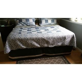 Asher Home Joyanna Indigo 3 Piece Luxury Ruffle Quilt Set
