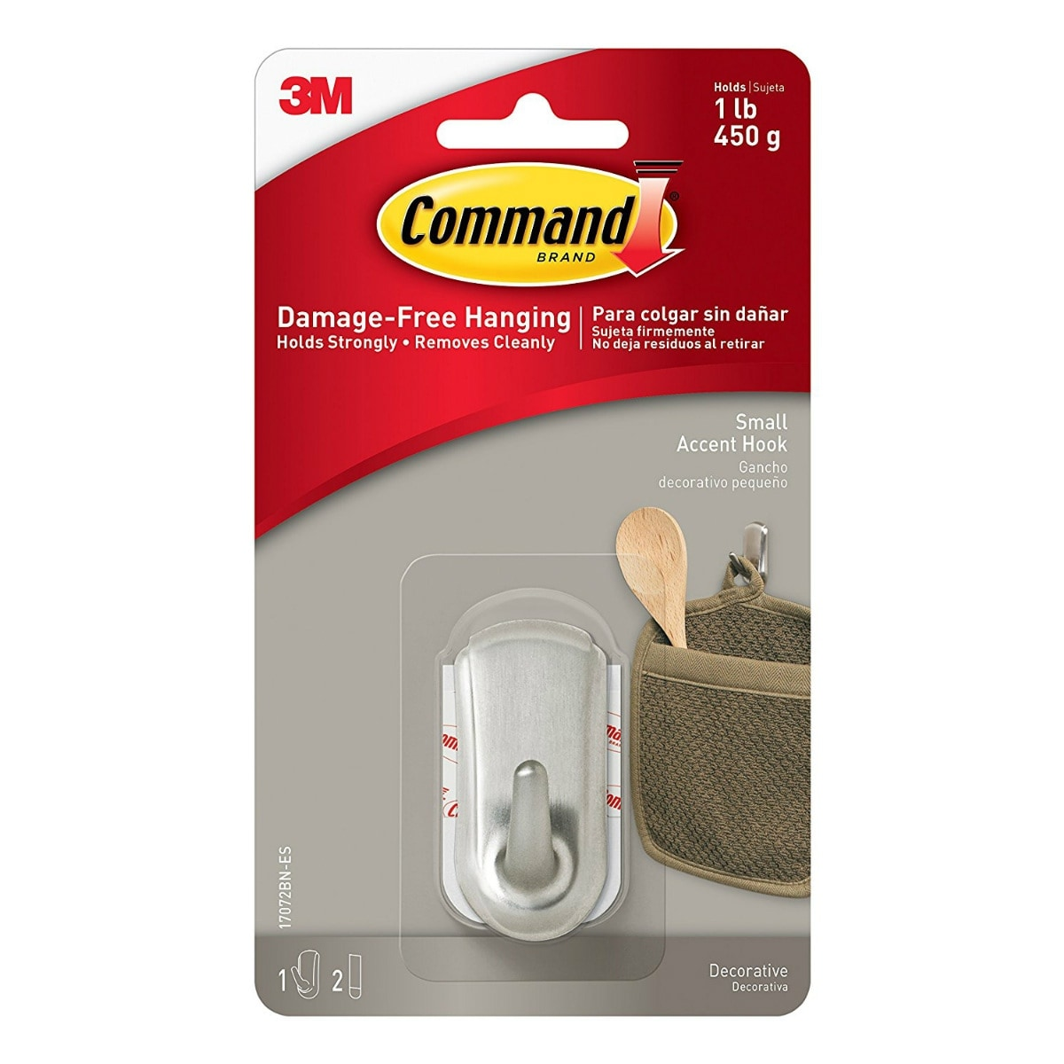 Command 17072BN Decorative Accent Hook, Small, Brushed Nickel
