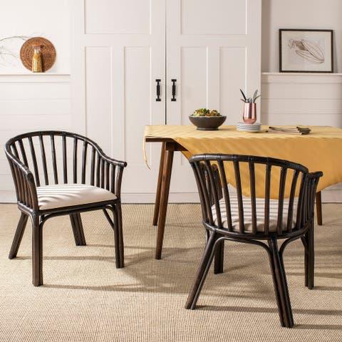 """SAFAVIEH Gino Black/ White Cushion Arm Chair - 24"""" x 23"""" x 31.5"""""""