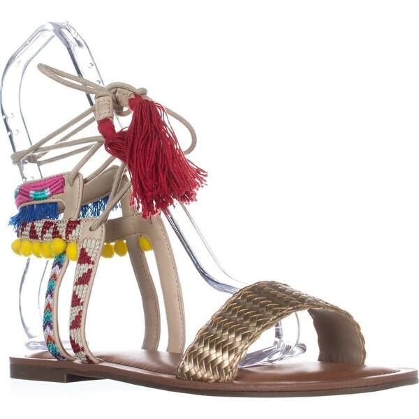 Indigo Rd. Doe Flat Ankle Tie Up Sandals, Gold Multi
