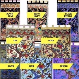 Handmade 100% Cotton Tree of Life Tab Top Curtain Drape Panel 44x88 in 8 Colors Black Gold Blue Purple Tan