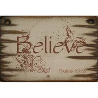 Cowboy Signs Wood Wall Hanging Western Rustic Believe White Brown - 9 x 14
