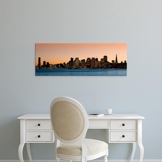 Easy Art Prints Panoramic Images's 'Buildings lit up at dusk, San Francisco, California, USA' Premium Canvas Art
