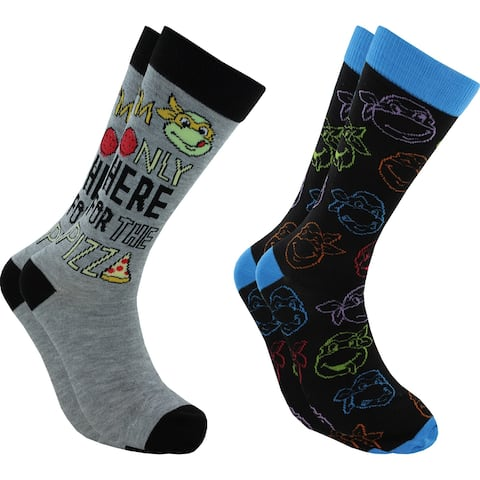 Hyp TMNT Here for the Pizza Men's Crew Socks 2 Pair Pack Shoe Size 6-12